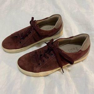 Burgundy suede tennis shoes